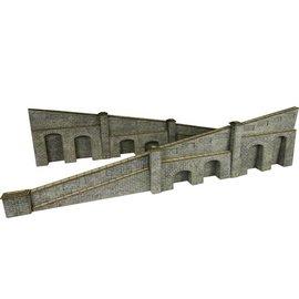 Metcalfe Arkadenstützmauer, steigend, in grauem Stein (Baugröße H0/OO)