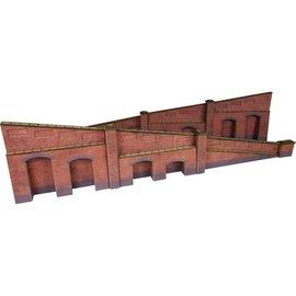 Metcalfe Arkadenstützmauer, steigend, in rotem Backstein (Baugröße H0/OO)