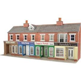 Metcalfe Metcalfe PO272 Voorzijde kleine winkels in rode baksteen (Schaal H0/00, Karton)