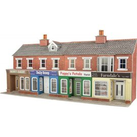 Metcalfe PO272 Low relief red brick shop fronts