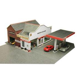 Metcalfe Tankstation met garage en showroom (Schaal H0/00, Karton)