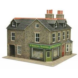 Metcalfe Wijkwinkel op de hoek in grijze steen (Schaal H0/00, Karton)