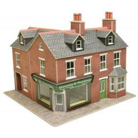 Metcalfe Wijkwinkel op de hoek in rode baksteen (Schaal H0/00, Karton)