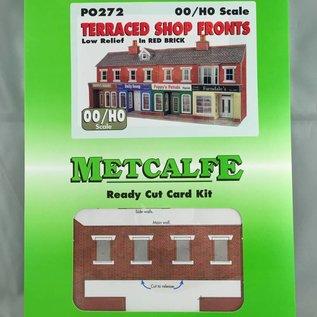Metcalfe Metcalfe PO272 Kleine Läden in rotem Backstein, nur Vorderseiten (Halbrelief/Hintergrundmodell) (Baugröße H0/OO)