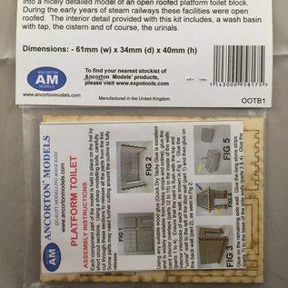 Ancorton Models Platform toilet block, (open roof), laser cut kit, OO/HO