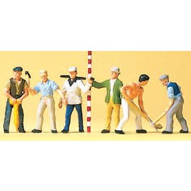 Preiser Road workers, 6 pieces kit, scale H0