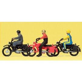 Preiser Motorradfahrer auf Hercules Motor, Satz von 3, Spur H0