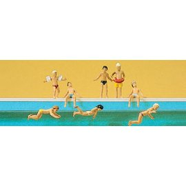 Preiser Children at the pool, 8 pieces kit, scale H0
