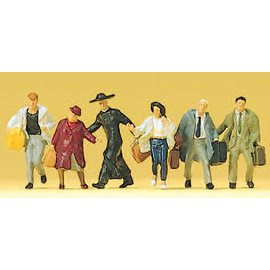 Preiser Passengers hurrying, 6 pieces kit, scale H0