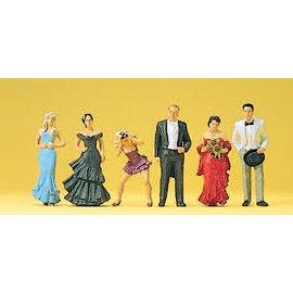 Preiser Hochzeitsgäste, Satz von 6, Spur H0