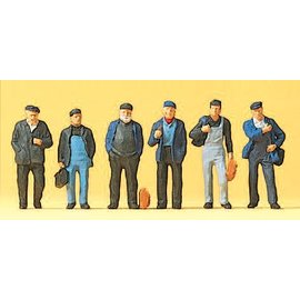 Preiser Industrial workers and dockers, 6 pieces kit, scale H0