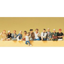 Preiser Seated passengers for bus and train, 12 pieces kit, scale H0