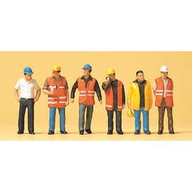 Preiser Workers wearing safety vest, 6 pieces kit, scale H0