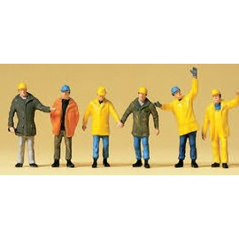 Preiser Arbeiders met beschermende kleding, Set van 6, Schaal H0