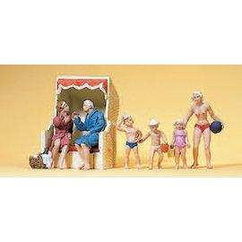 Preiser Paar im Strandkorb, spielende Kinder, Satz von 6, Spur H0