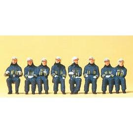 Preiser Sitzende Feuerwehrmänner in Einsatzkleiding, Satz von 8, Spur H0