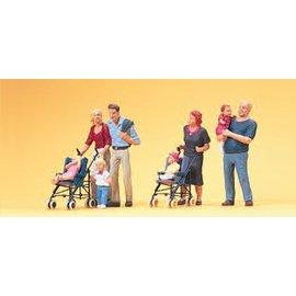 Preiser Eltern mit Kinder, Kinderwagen, Satz von 2, Spur H0