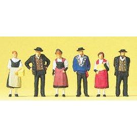 Preiser Figuren in traditionele kledij, Set van 6, Schaal H0