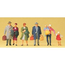 Preiser Lopende reizigers, Set van 6, Schaal H0
