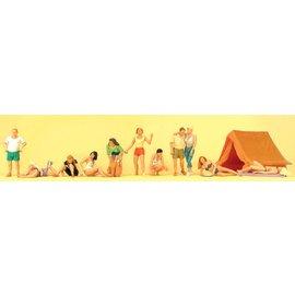 Preiser Campingvolk, Set van 11 figuren en tent, Schaal H0