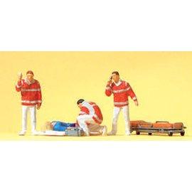 Preiser Ambulancebroeders met gewonde, Set van 4, Schaal H0