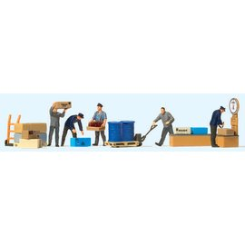 Preiser Het goederenstation, Set van 5 figuren met toebehoren, Schaal H0