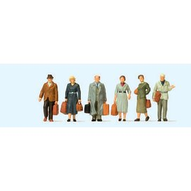 Preiser Walking passengers Epoch III, 6 pieces kit, scale H0