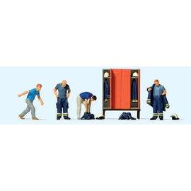 Preiser Feuerwehrmänner in Einsatzkleidung, Satz von 4, Spur H0