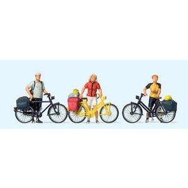 Preiser Stehende Radfahrer in sportlicher Kleidung, Satz von 3, Spur H0