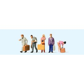 Preiser Passengers at the train station, 5 pieces kit, scale H0