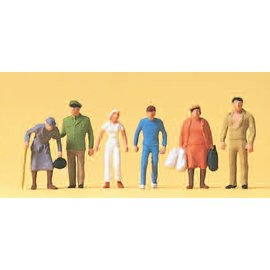 Preiser Passers-by, Policeman, 6 pieces kit, scale H0