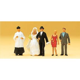 Preiser Wedding couple, catholic, 6 pieces kit, scale H0