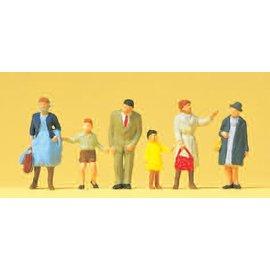 Preiser Passanten mit Kinder, Satz von 6, Spur H0