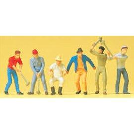 Preiser Arbeiders met hamer, Set van 6, Schaal H0