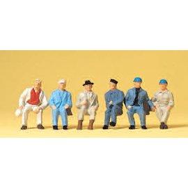 Preiser Zittende arbeiders, Set van 6, Schaal H0