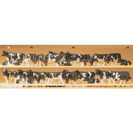 Preiser Cows, black/white, 30 pieces kit, scale H0