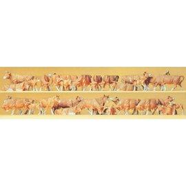 Preiser Koeien bruin, Set van 30, Schaal H0