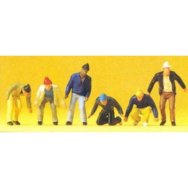 Preiser Circus workers, 6 pieces kit, scale H0