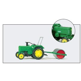Preiser Farm tractor with roller, scale H0