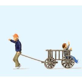 Preiser Children with wooden cart, scale H0