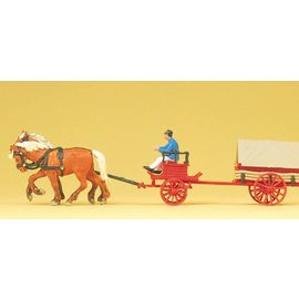 Preiser Coal wagon with horses, scale H0