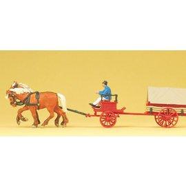 Preiser Kohlenlieferwagen mit Pferde, Spur H0