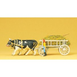Preiser Grass wagon with oxen, scale H0