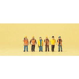 Preiser Arbeiders in veiligheidskleding, 6 figuren, Schaal N