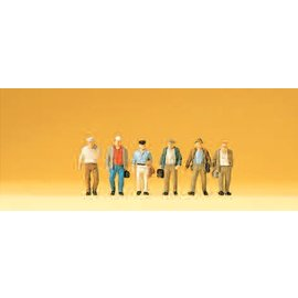 Preiser Male commuters on their way to the railway, 6 figures, scale N