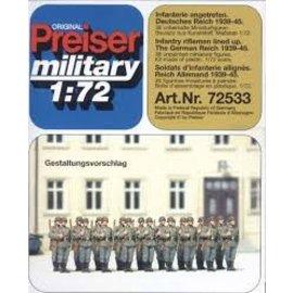 Preiser Infantry riflemen lined up, unpainted, 36 figures, scale 1:72,5