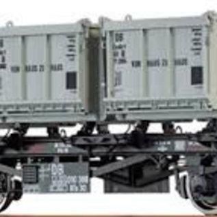 """Brawa Brawa 37163 Containercarrier """"von Haus zu Haus"""" open containers DB Era. 3/4 Gauge 0"""
