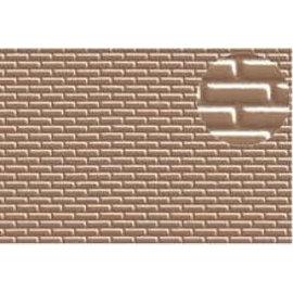 Slater's Plastikard Selbstbauplatte Backstein in halbstein Verbund, Maßstab H0, braugraue Farbe, aus Kunststoff