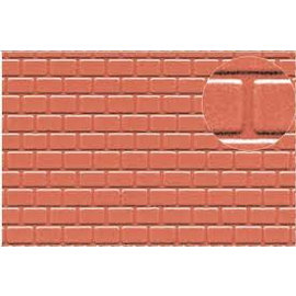 Slater's Plastikard Builder Sheet embossed with roofing tile motive in stone red, H0/OO gauge, plastic