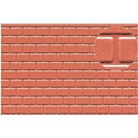Slater's Plastikard SL425 Builder Sheet embossed with roofing tile motive in stone red, H0/OO gauge, plastic